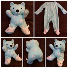 "Sewing Teddy Bear This is a cute idea. Makes me wish I saved my kids pajamas.for someone else to sew. - Artists and crafty moms are turning old baby clothes into keepsake ""memory bears"" that can be cherished by parents and kids for years to come. Old Baby Clothes, Baby Clothes Quilt, Clothes Sale, Baby Clothes Patterns, Clothes Women, Quilt Baby, Onesie Quilt, Baby Memory Quilt, Memory Quilts"