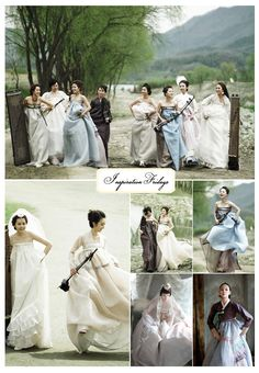 love the modernized korean hanbok with no jacket...definitely inspiring for a future dress. also loving the color palette! #korea #modernhanbok #koreanwedding #hanboklynn