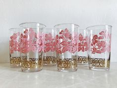 Vintage Pink & Gold Dogwood Flower Print Glass Tumblers, Set of 6 Federal Glass Co. Juice/Water Glasses,  Mid Century Floral Print Glassware by MetropolisMoon on Etsy https://www.etsy.com/listing/539194895/vintage-pink-gold-dogwood-flower-print