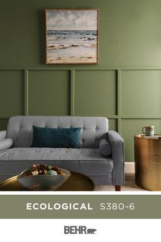 We love a deep green wall colour, and BEHR® Paint in Ecological is checking all… Green Wall Color, Green Paint Colors, Room Colors, Wall Colors, Green Family Rooms, Green Rooms, Boy Room Paint, Living Room Paint, Decor Interior Design