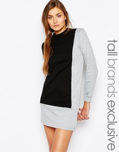 Image 1 - One Day Tall - Robe sweat à col montant et motif color block