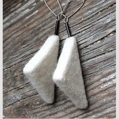 Needle felted earrings   lightweight  white triangle  by vilnone