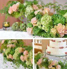 【Botanical Garden:ボタニカル ガーデン】 ボタニカルとは、元来「自然の中にある草花や木の葉、実など、植物」のこと。グリーンの葉ものを中心に、やさしいアプリコットピンクと、季節の様々な蔦(ツタ)ものを織り交ぜた、花々から癒しを得られるコーディネートに。