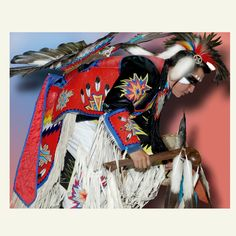 Excellent Native American Fine Art Image, 8X10 via Etsy.  This is an example of the North American Indian Male's regalia. All of the regalia are hand made. This image has outstanding detail and you can see all of the handwork.     The Northern Traditional dancer is a modern evolution of tribal regalia from the tribes of the Northern Plains such as Sioux, Blackfoot, Crow, Omaha and others.