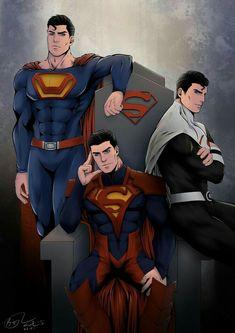Superman - different costumes Evil Superman, Mundo Superman, Superman Artwork, Superman News, Superman Family, Superman Anime, Superman Comic, Arte Dc Comics, Dc Comics Superheroes