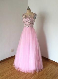 Long Prom Dress, Prom Dress 2016, V-back Prom Dress, Pink Prom Dress, Tulle Prom Dress, Ball Gown Prom Dress