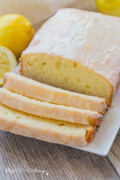 Lemon Yogurt Loaf Cake ~ mykitchencraze.com ~ Lemon yogurt cake is the perfect dessert for the whole family. It's moist and the lemon flavor is delicious.