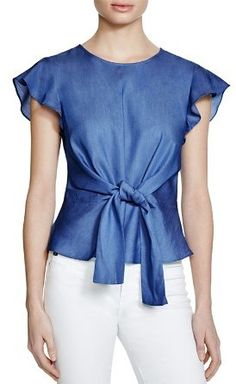 Lucy Paris Belted Ruffle Sleeve Top - Exclusive In Chambray Blue Casual Attire For Women, Business Casual Attire, Professional Attire, Business Formal, Chambray Top, Denim Top, Simple Outfits, Casual Outfits, Fashion Outfits