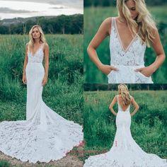 2017 Lace Sheath Beach Wedding Dress V-Neck Backless White Ivory Bridal Gown New   eBay
