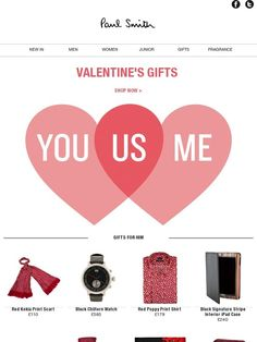 Valentine's day gifts, plus free shipping until Monday 11th February - Paul Smith