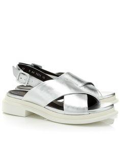Silver Leather Caliente Sandals | Robert Clergerie | Avenue32