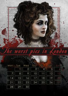 "Geek Calendar 2014: April by SceithAilm.deviantart.com on @deviantART - Featuring Mrs. Lovett from ""Sweeny Todd"" as portrayed by Helena Bonham Carter. FYI: the whole Geek Calendar 2014 is FREE for download; just click on the pictures you want from here (http://sceithailm.deviantart.com/gallery/45711535) to download them."