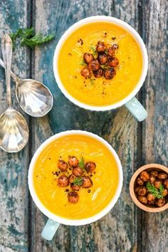 This vegan spiced carrot, parsnip and chickpea soup is simple to make but anything but ordinary thanks to the fresh turmeric. Top with crispy spicy chickpeas for a satisfying lunch.