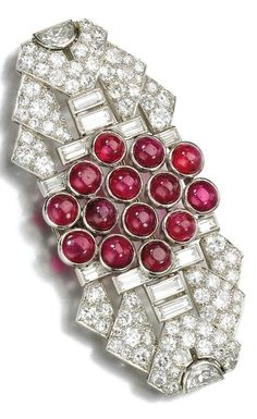 An Art Deco ruby and diamond brooch, Ostertag, 1930s. Of geometric design…