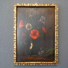 N J van Huysen-bloemstilleven, olieverf op paneel