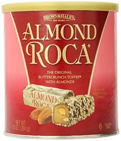 Brown Toffee And Haley Almond Roca 10 OZ Can for sale online Chocolate Shop, Chocolate Hazelnut, Chocolate Butter, Almond Roca, Toffee Candy, Toffee Bars, Toffee Cookie Recipe, California Almonds