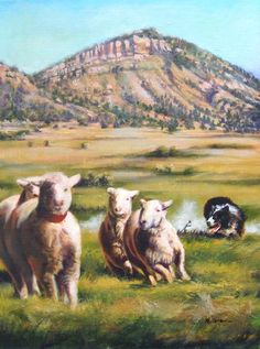 "Original Western Landscape Painting With Sheep ""Crossing Chalk Line"" by Colorado Artist Nancee Jean Busse, Painter of the American West"