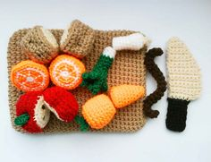 Kitchen play set with Fruits, Vegetables Crochet Pattern | by HandmadeKitty=^_^=
