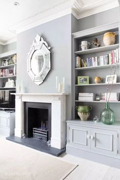 When a room looks dark and with no focus, add a fireplace to bring a centre. Bookshelves Around Fireplace, Built In Around Fireplace, Fireplace Built Ins, Home Fireplace, Bookshelves Built In, Living Room With Fireplace, Living Room Grey, Small Living Rooms, Living Room Designs