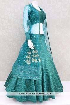 Teal soft silk jacket lehenga set from palkhi fashion. Soft net jacket enhanced with sequin embroidery, thread, lakhnavi work. Indian Fashion Dresses, Indian Bridal Outfits, Indian Gowns Dresses, Dress Indian Style, Indian Designer Outfits, Choli Designs, Lehenga Designs, Kurti Designs Party Wear, Gown Party Wear