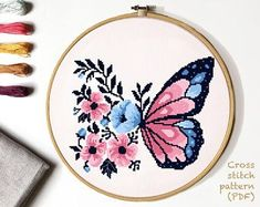 Great Absolutely Free Cross Stitch modern Tips Floral Modern Cross Stitch Pattern, flower butterfly counted cross stitch chart, nature, hoop embr Modern Cross Stitch Patterns, Counted Cross Stitch Patterns, Cross Stitch Designs, Cross Stitch Embroidery, Butterfly Cross Stitch, Butterfly Dragon, Monarch Butterfly, Flower Patterns, Pattern Flower