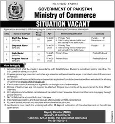 jobs in Ministry Of Commerce Government Of Pakistan 2017