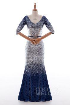 Luxurious Trumpet-Mermaid V-Neck Natural Floor Length Sequined Sleeveless Zipper Dress PR3366 #promdresses #partydresses #cocomelody #eveningdresses #customdresses #sequineddresses #metallicdresses #sparklingdresses