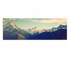 """Kunstdruck """"Panoramabild -120x40cm"""" auf Leinwand und Holzkeilrahmen (Natur, Landschaft, Berge, Schnee, Felswände, Himmel, Wolken)- Beste Qua..."""