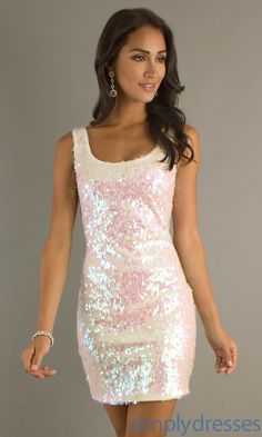 Sleeveless Sequin Dress, Ivory Homecoming Dress - Simply Dresses