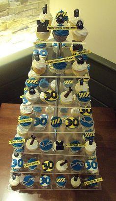 Police retirement cupcakes Police Retirement Party, Police Party, Retirement Party Decorations, Retirement Cakes, Retirement Parties, Retirement Ideas, Police Birthday Cakes, 40th Birthday, Police Cupcakes