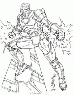 iron man flying above the city coloring page