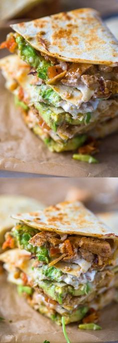 Chicken Avocado Quesadillas Ingredients For the chicken: 2 medium chicken breasts, boneless, skinless Kosher salt and freshly ground black. Mexican Food Recipes, New Recipes, Dinner Recipes, Cooking Recipes, Healthy Recipes, Healthy Snacks, Recipies, Bariatric Recipes, Bread Recipes