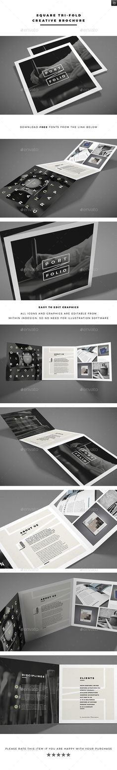 Square Tri-fold Creative Brochure Template #printdesign #brochure Download: http://graphicriver.net/item/square-trifold-creative-brochure/12068053?ref=ksioks Mehr (Business Card Creative Design)