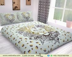 Indian Bohemian Duvet Cover Queen Twin Size Bedspread in Lion Print Handmade Duvet Covers, Modern Duvet Covers, Bed Covers, Boho Duvet Cover, Mandala Duvet Cover, Duvet Cover Sets, Rasta Lion, Cheap Bedding Sets, Bedding Sets Online