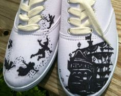 Custom hand painted acrylic vans style  womens shoes Peter Pan