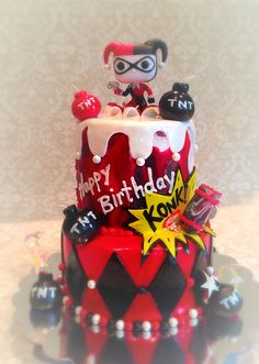 Two tiered Harley Quinn themed cake! By Finishing Touches!  #harleyquinn #cake…