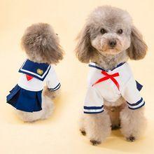 2016 Vestido de Perro Gato Mascotas Ropa de Estilo Navy Traje de Marinero Uniforme Falda de Verano Ropa Del Perrito Ropa Para perros…