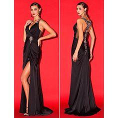 Sheath/Column V-neck Sweep/Brush Train Satin Chiffon Evening Dress (2442319) – USD $ 399.99