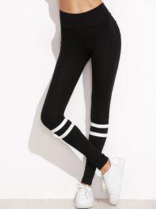 Black Stripe Trim High Waist Leggings