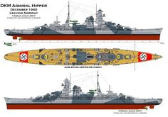 Admiral Hipper, the first of five ships of her class, was the lead ship of the Admiral Hipper class of heavy cruisers. Model Warships, Prinz Eugen, Heavy Cruiser, Naval History, Navy Military, Navy Ships, Military Weapons, Aircraft Carrier, Hale Navy