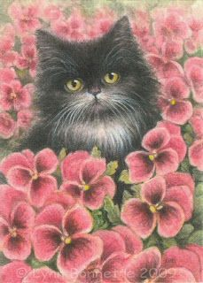 """Tuxedo Cat & Pansy Patch"""
