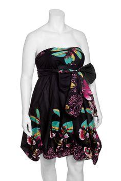Plus Floral Cotton Strapless Dress with Sash