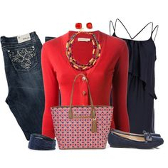 """""""Red & Navy Stella & Dot Bag"""" by daiscat on Polyvore"""