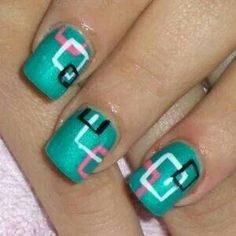 Nail Designs. Teal white pink black squares geometric  #NAILS - DIY NAIL ART DESIGNS