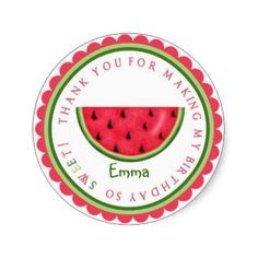 These adorable watermelon theme party favor bag stickers would be perfect for your summer watermelon theme celebration.  The stickers can be customized with a special message.  Simply attach to your party favor bags or boxes.
