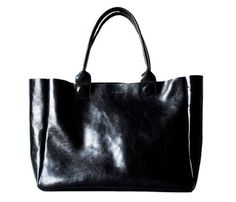 Classic Black Leather Tote :: rib and hull