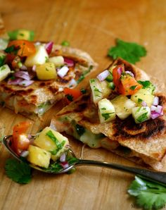 Shrimp, Poblano, and Monterey Jack Quesadillas Topped with Spicy Pineapple Salsa
