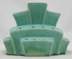 "WELLER EVERGREEN 5"" x 6"" STACKED BLOCKS FLOWER FROG FEATHERED GREEN GLAZES MINT"