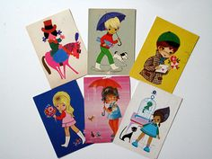 Lot of 6 vintage postcards from the 70s. Great for scrapbooking.