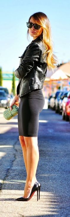 Black Pencil skirt + Leather Jacket.